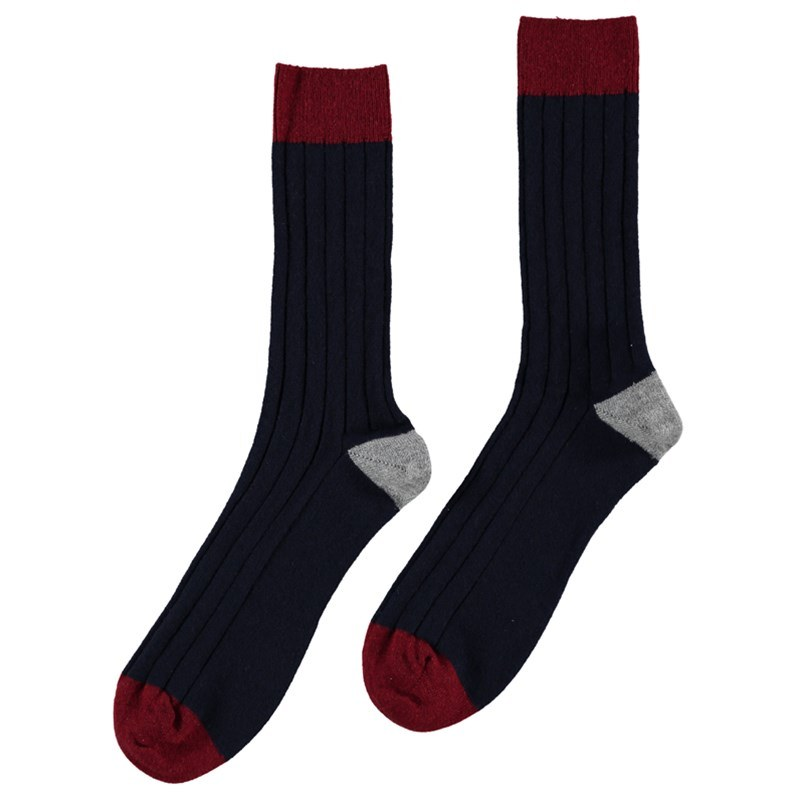 Men's Cashmere Colour Block Socks in Navy
