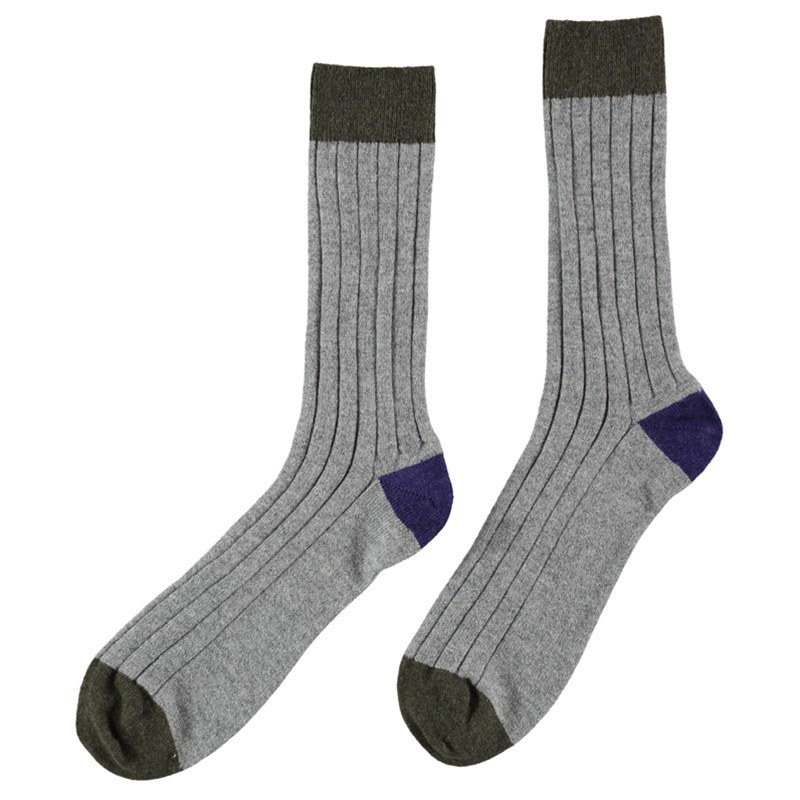 Men's Cashmere Colour Block Socks in Light Grey