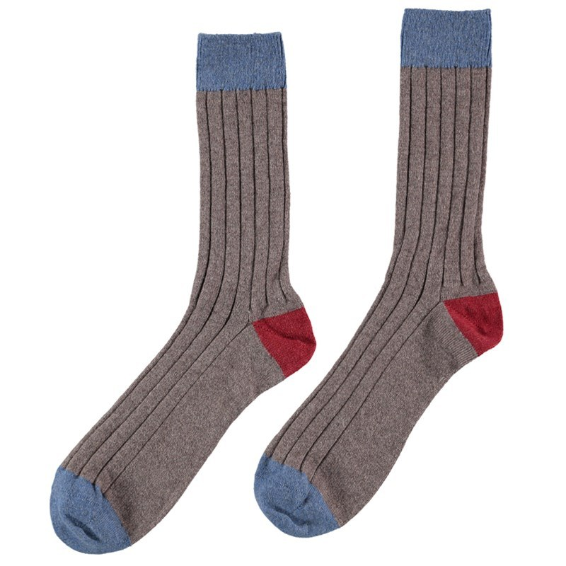 Men's Cashmere Colour Block Socks in Driftwood