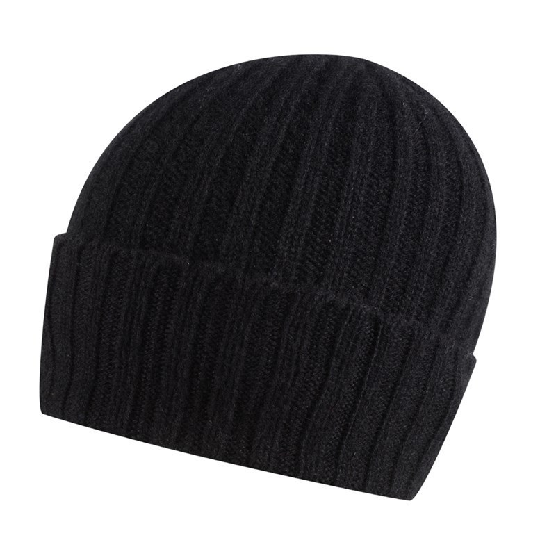 Broad Ribbed Cashmere Hat in Black