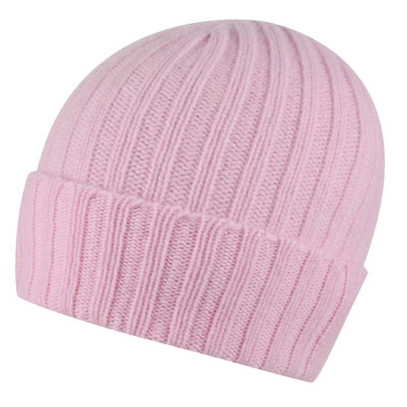 Broad Ribbed Cashmere Hat in Soft Pink