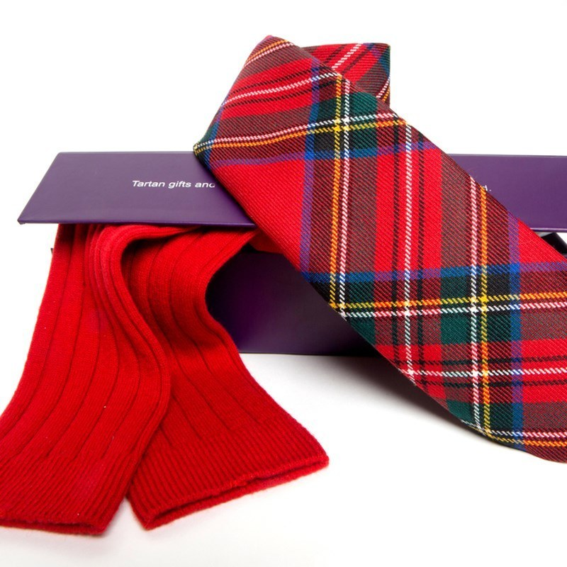 Plaid Necktie and Cashmere Socks Gift Set in Stewart Royal