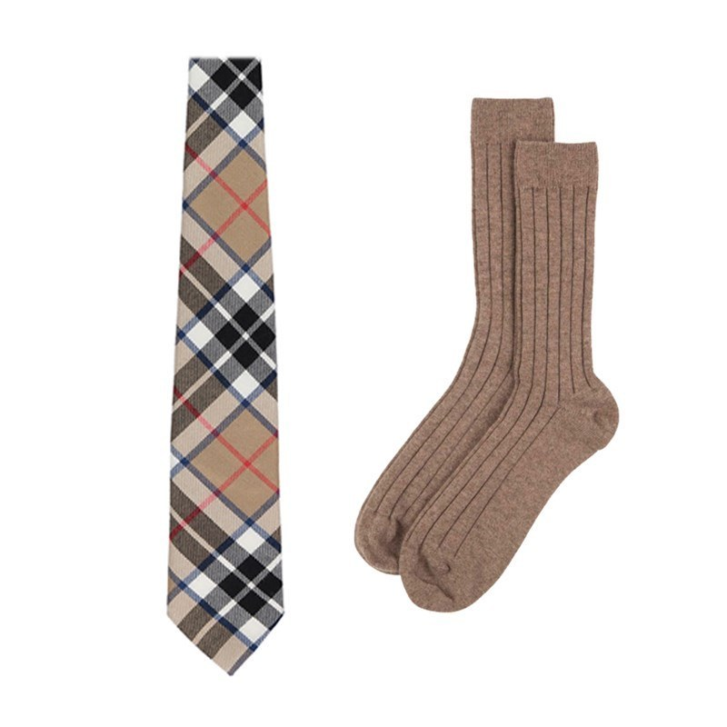 Plaid Necktie and Cashmere Socks Gift Set in Thompson Camel