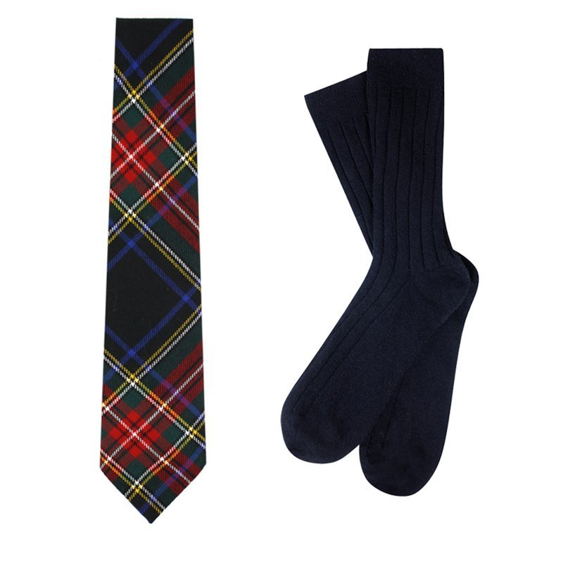 Plaid Necktie and Cashmere Socks Gift Set in Stewart Black