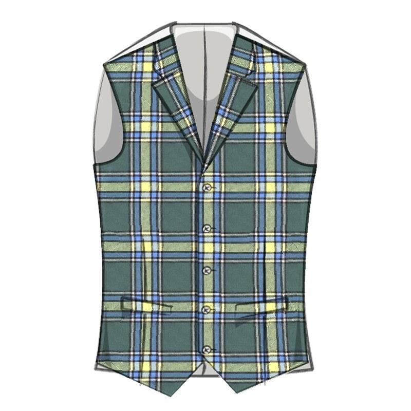 Men's Wool Tartan Waistcoat with Lapels