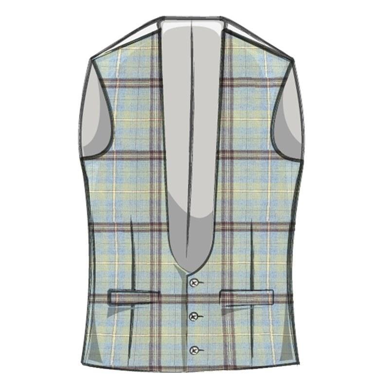 Men's Tweed Waistcoat with Horseshoe Neck