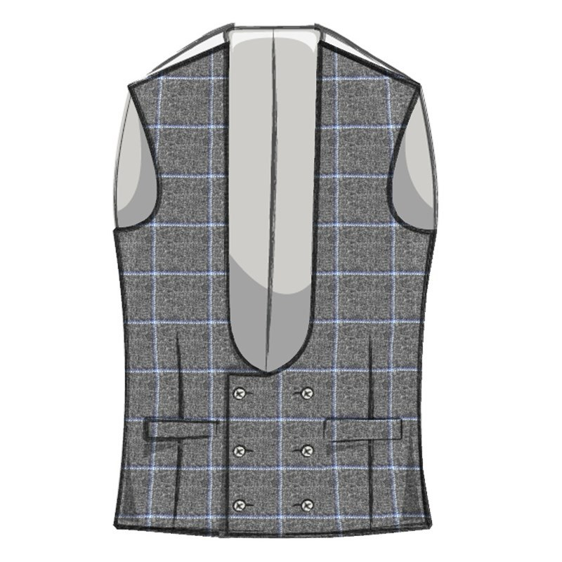 Men's Double Breasted Tweed Vest with Horseshoe Neck