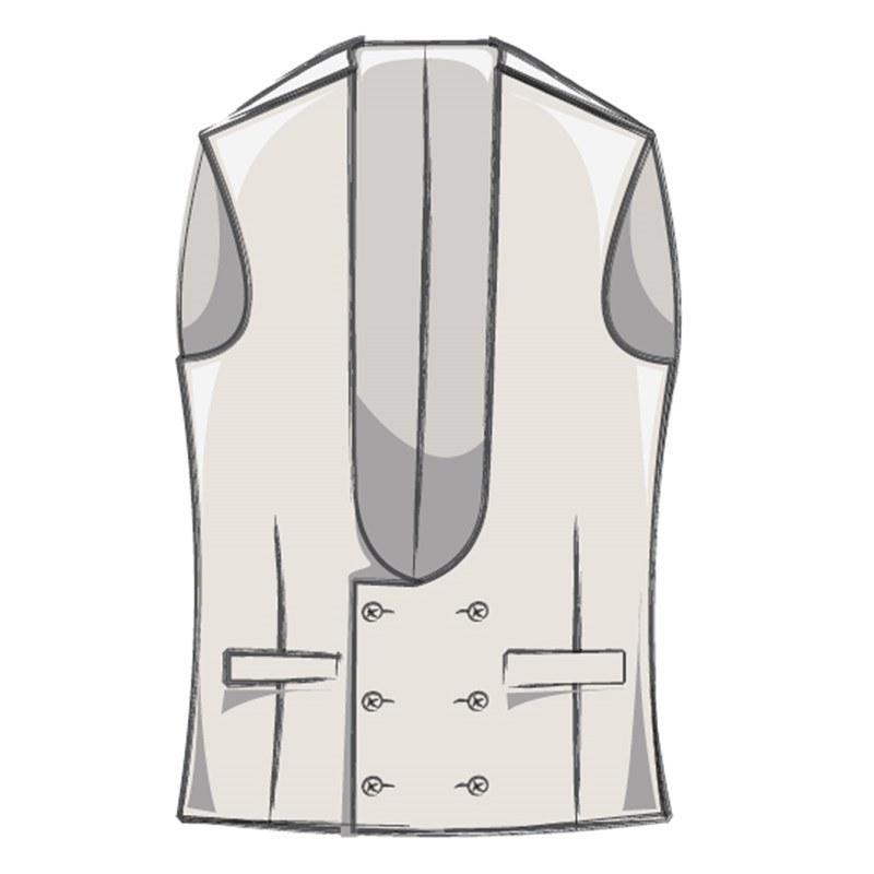 Men's Double Breasted Tweed Waistcoat with Horseshoe Neck Made To Order