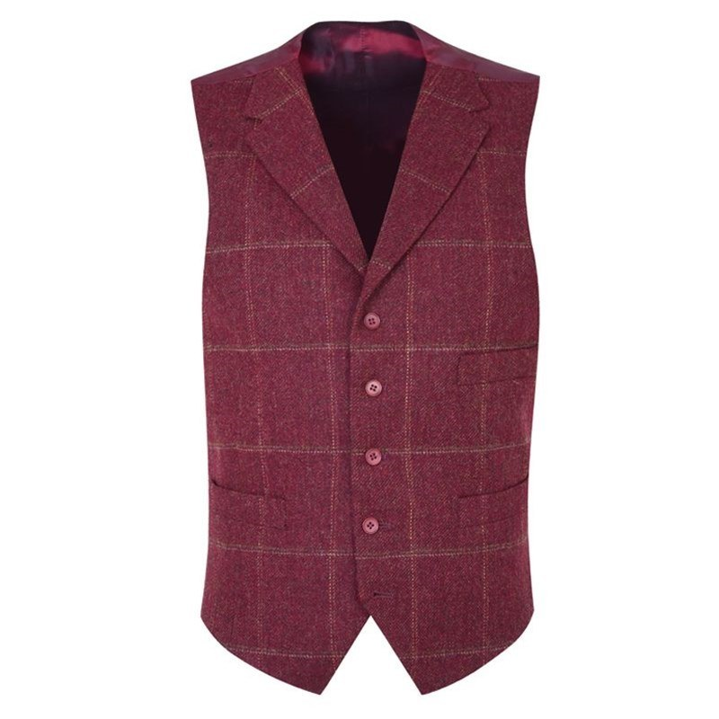 Gilet Tweed Ecossais Homme avec revers in Cairngorm Red Kite (CGE142)