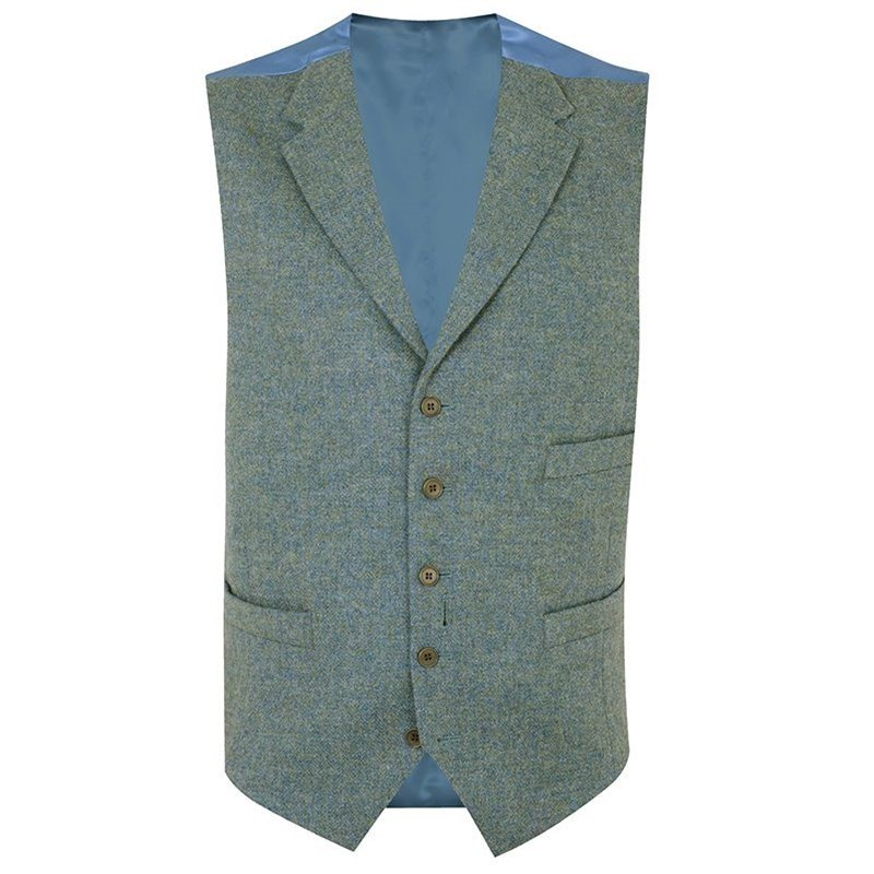 Gilet Tweed Ecossais Homme avec revers in Cheviot Sea Green (CHE038)