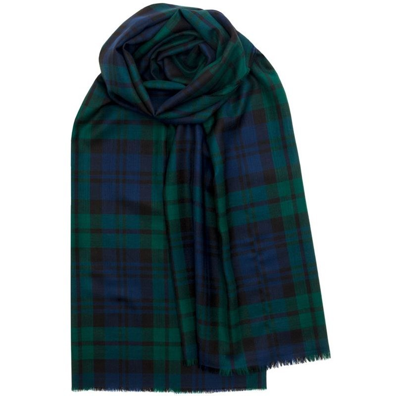 Fine Wool Tartan Stole or Scarf in Black Watch Modern