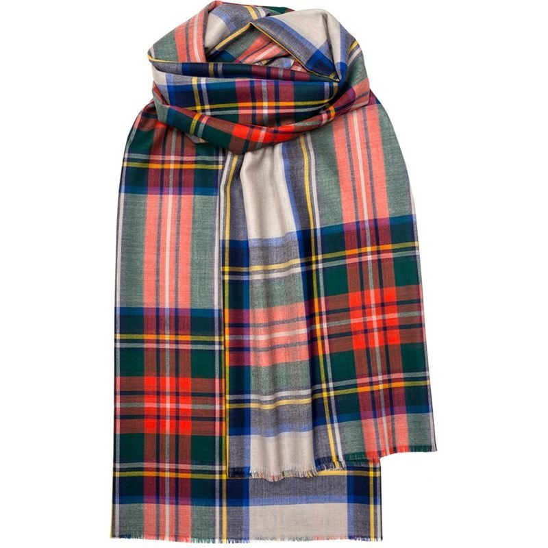 Spring Collection - Fine Wool Plaid Stole in Stewart Dress Grey