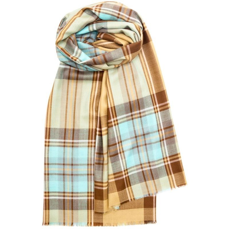 Spring Collection - Fine Wool Plaid Stole in Stewart Islay Antique