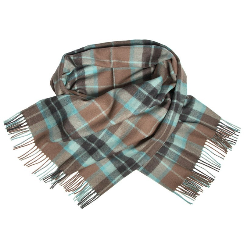 Brushed Wool Oversize Tartan Scarf in Thompson Hunting Brown Weathered
