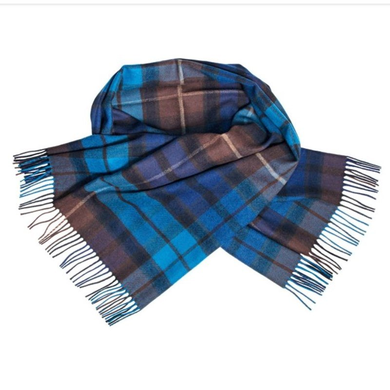 Brushed Wool Oversize Tartan Scarf in Buchanan Blue