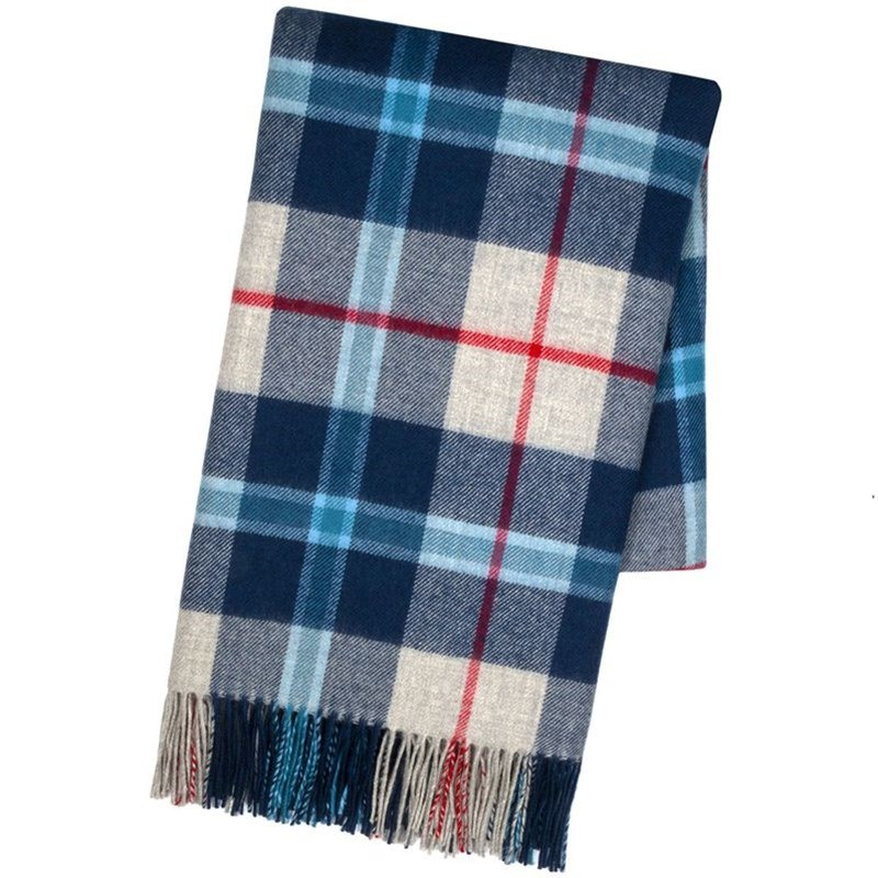 Brushed Wool Oversize Tartan Scarf in Douglas Navy