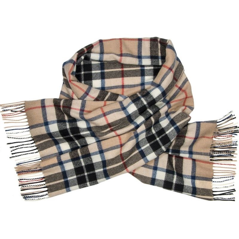 Brushed Wool Oversize Tartan Scarf in Thompson Camel