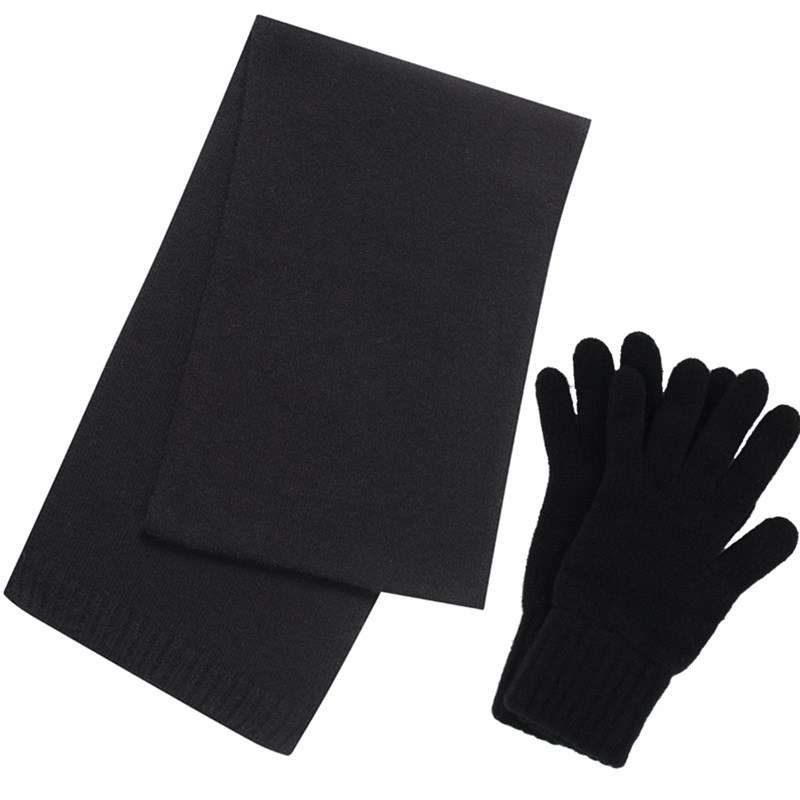 Cashmere Scarf and Gloves Set - Gift Boxed in Black