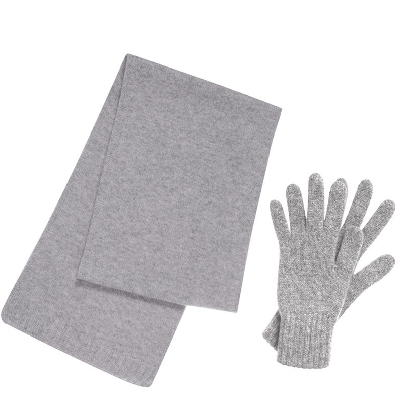 Cashmere Scarf and Gloves Set - Gift Boxed in Flannel Grey
