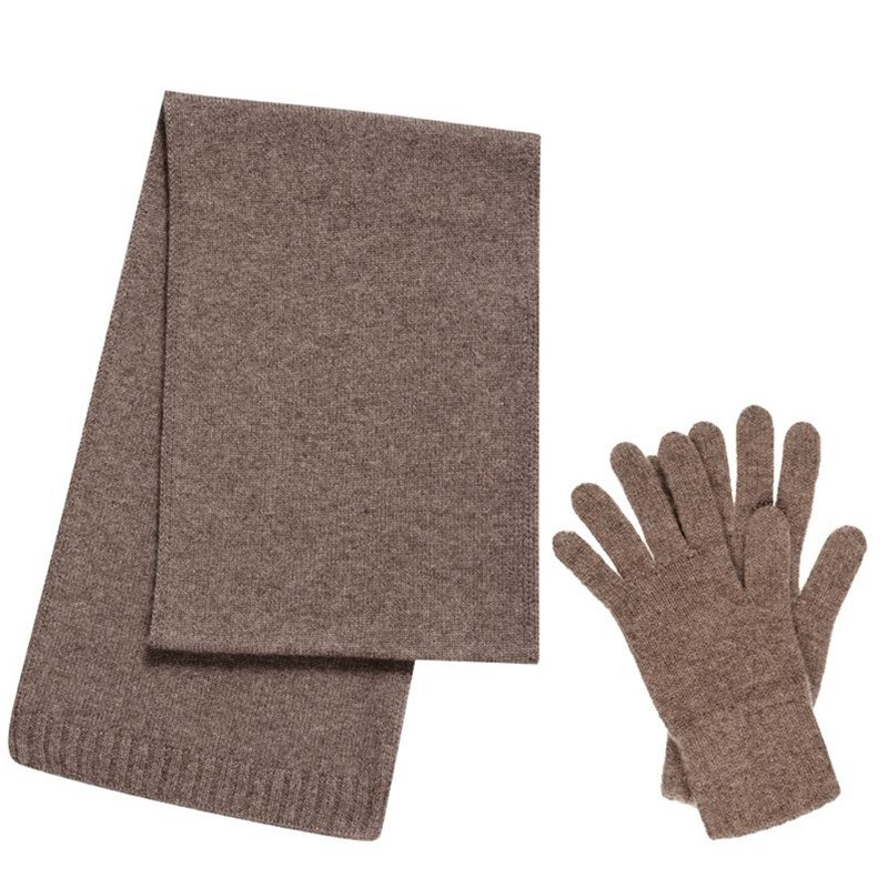 Cashmere Scarf and Gloves Set - Gift Boxed in Otter Brown