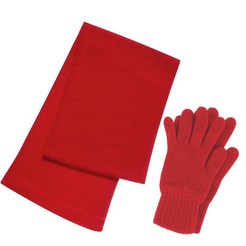 Cashmere Scarf and Gloves Set - Gift Boxed in Cardinal Red
