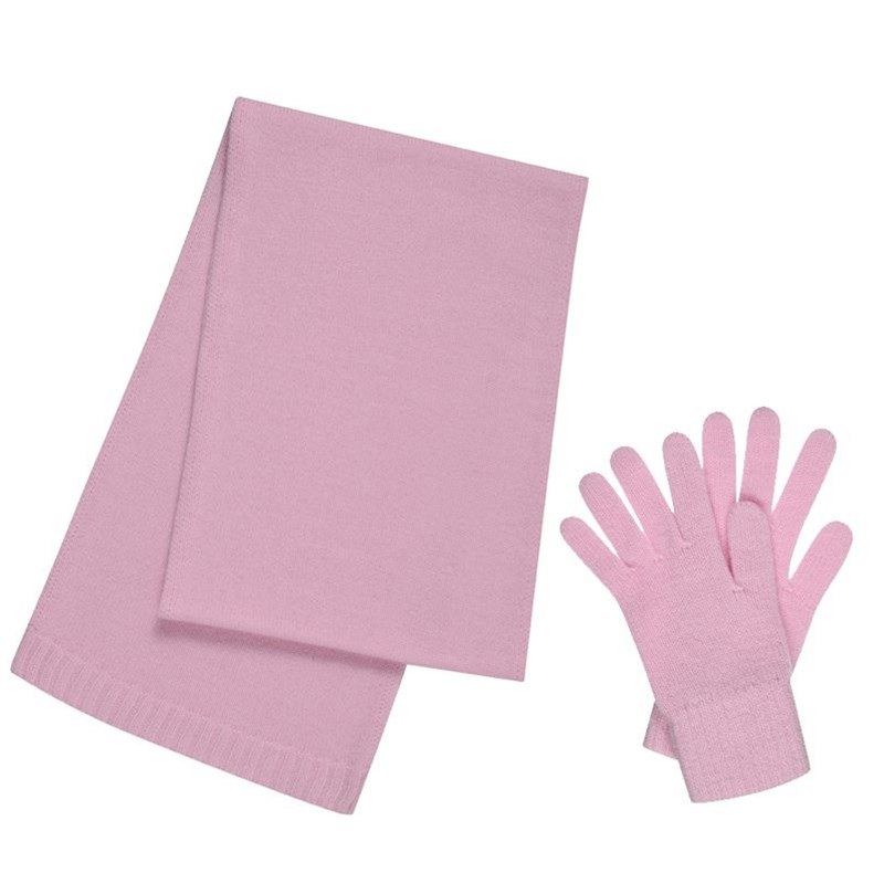 Cashmere Scarf and Gloves Set - Gift Boxed in Soft Pink