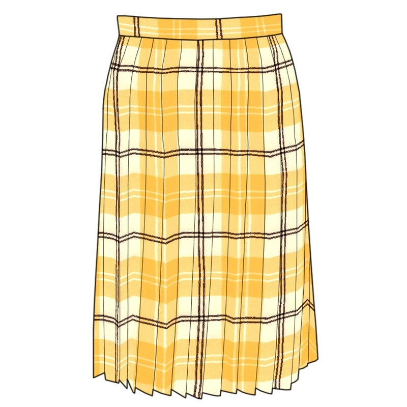 Tartan All Round Pleated Skirt in Ailsa Yellow BCH055