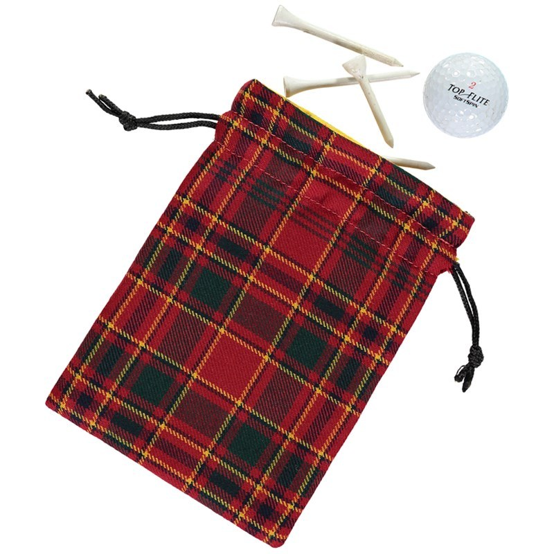 Plaid Golf Tee Pouch