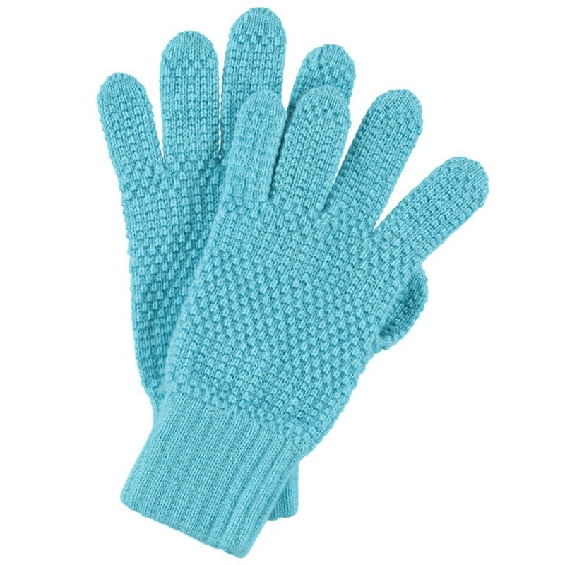 Tuck Stitch Cashmere Gloves in Aqua
