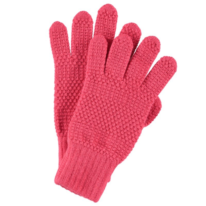Tuck Stitch Cashmere Gloves in Coral