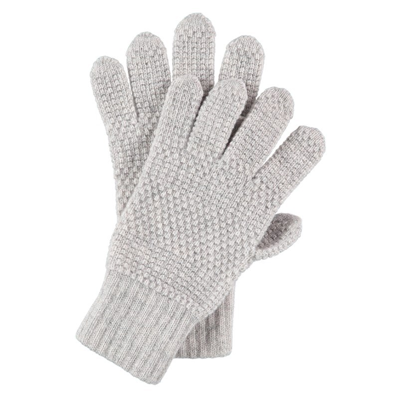 Tuck Stitch Cashmere Gloves in Lightest Grey
