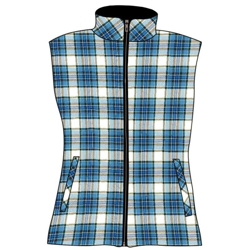 Women's Quilted Plaid Vest in Tiree Turquoise BCH031