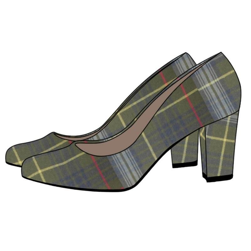 Zapatos de salón en tartan in Stewart Hunting Weathered