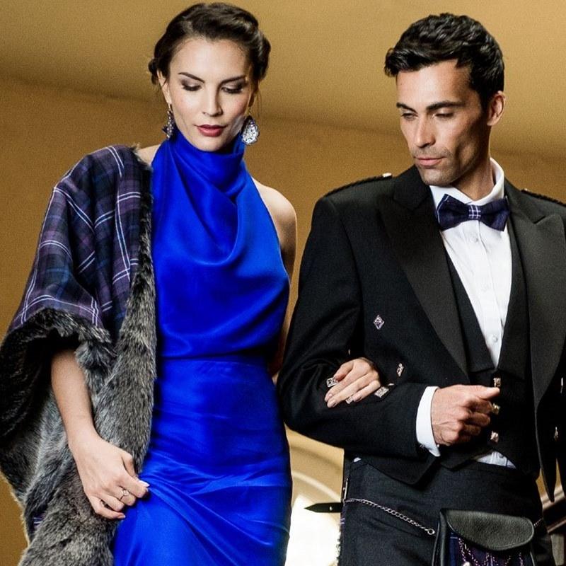 Wool Tartan & Faux Fur Stole