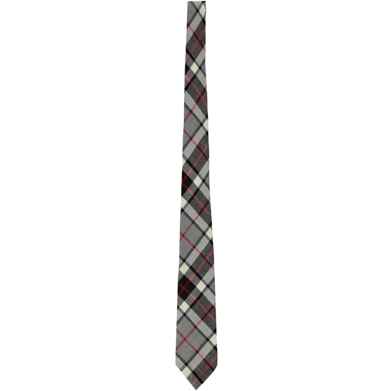 Wool Plaid Tie in Thompson Grey