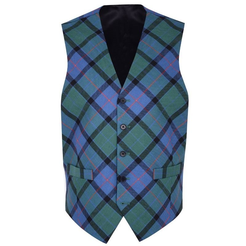 Men's Bias Cut Wool Tartan Waistcoat in Flower of Scotland