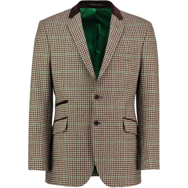 Men's Tweed Velvet Trim Jacket