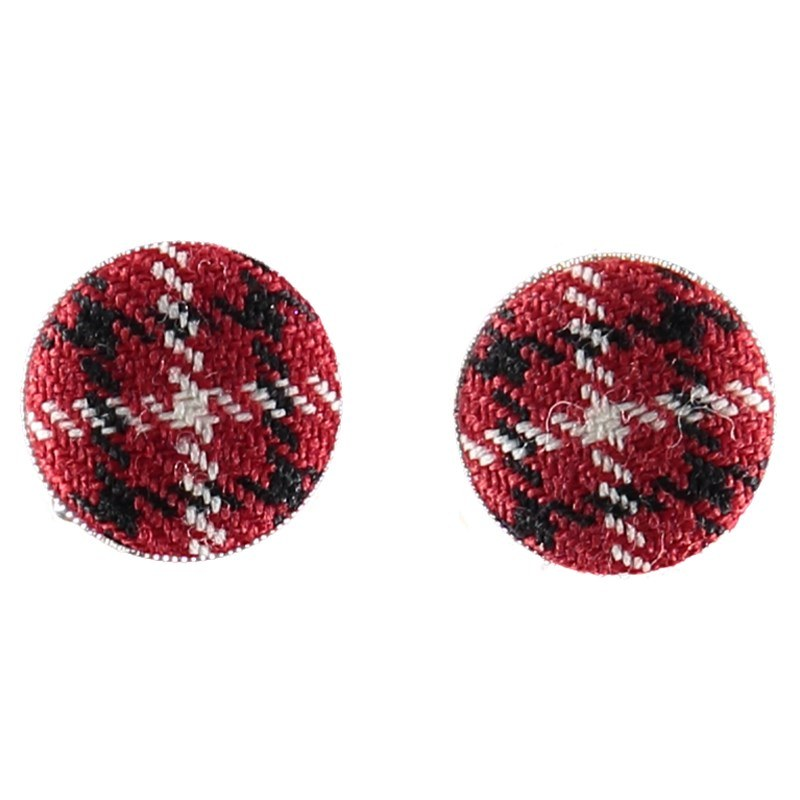 Wool Tartan Cufflinks in Stewart Royal