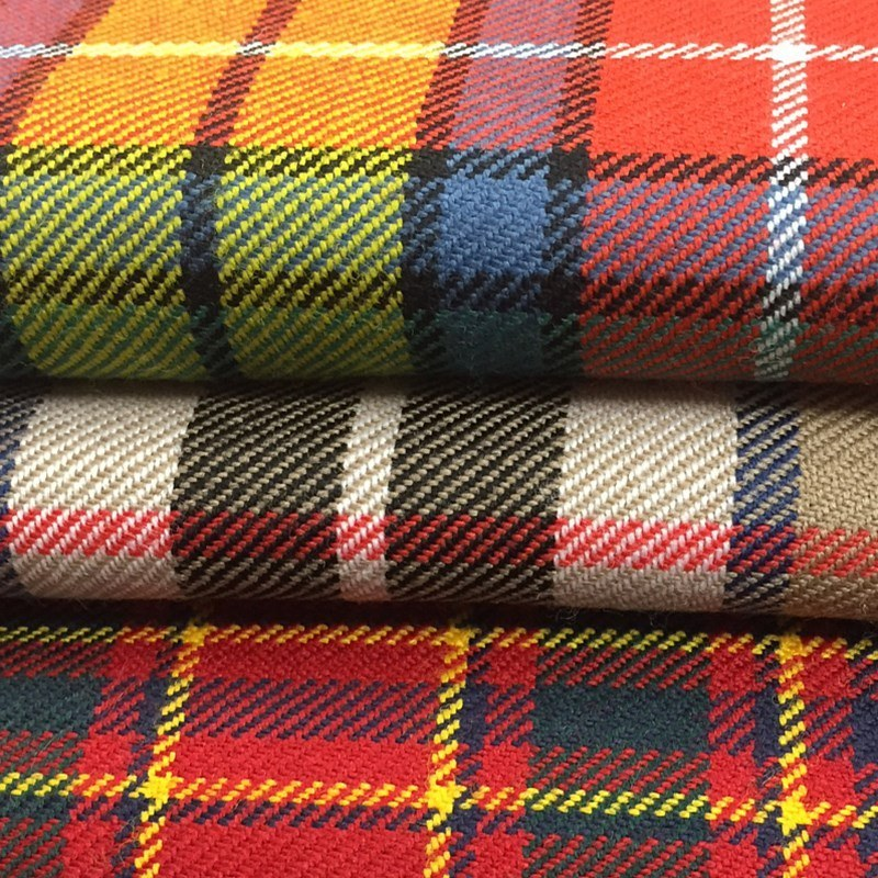 10oz Lightweight Wool Plaid Fabric