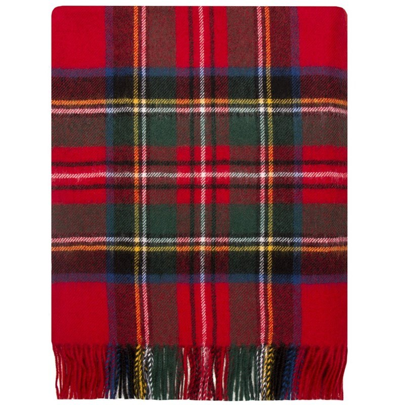 Brushed Wool Plaid Blanket in Stewart Royal