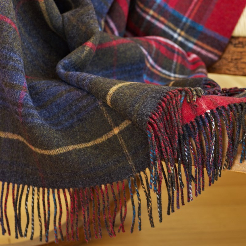 Reversible Lambswool Tartan and Tweed Throw Stewart