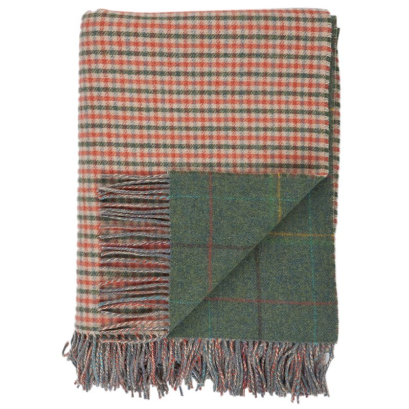 Reversible Lambswool Tartan and Tweed Throw