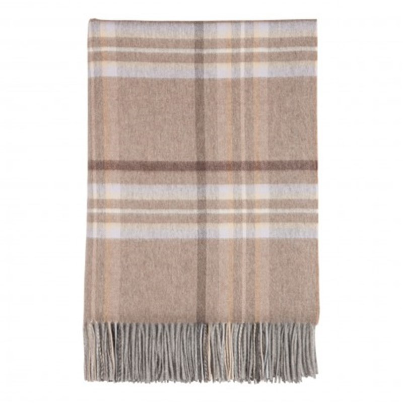 Pure Cashmere Tartan and Check Throw in Drybridge Check