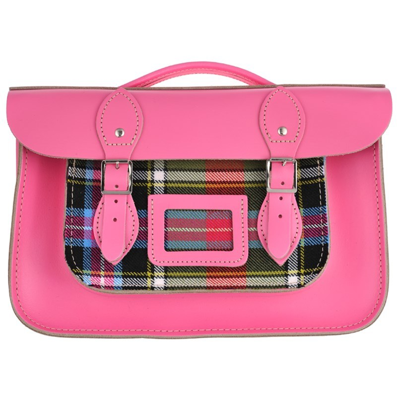Baby Pink Tartan And Leather Satchel