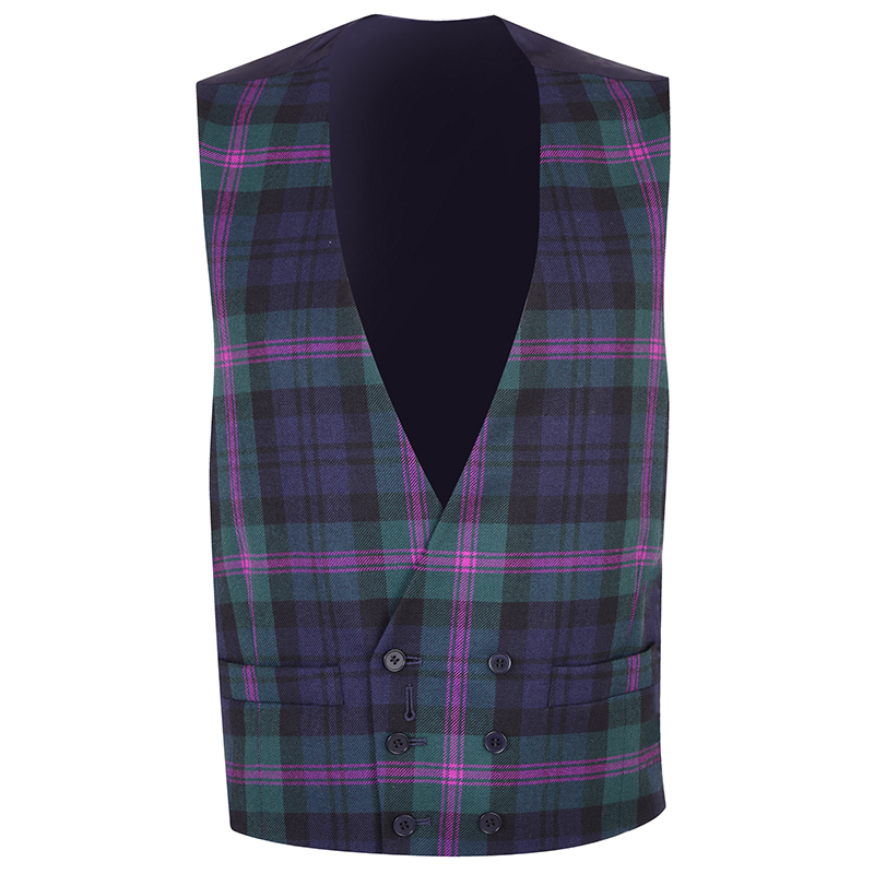 Double Breasted Plaid Vest in Baird Modern