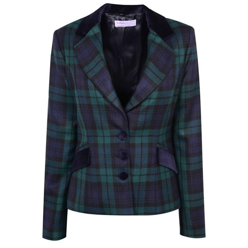 Women's Velvet Trim Tartan Jacket