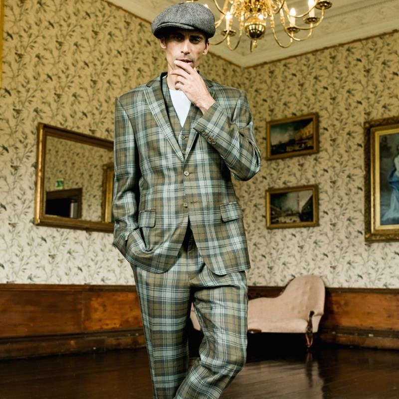 Mens Plaid 3 Piece Suit Made To Order
