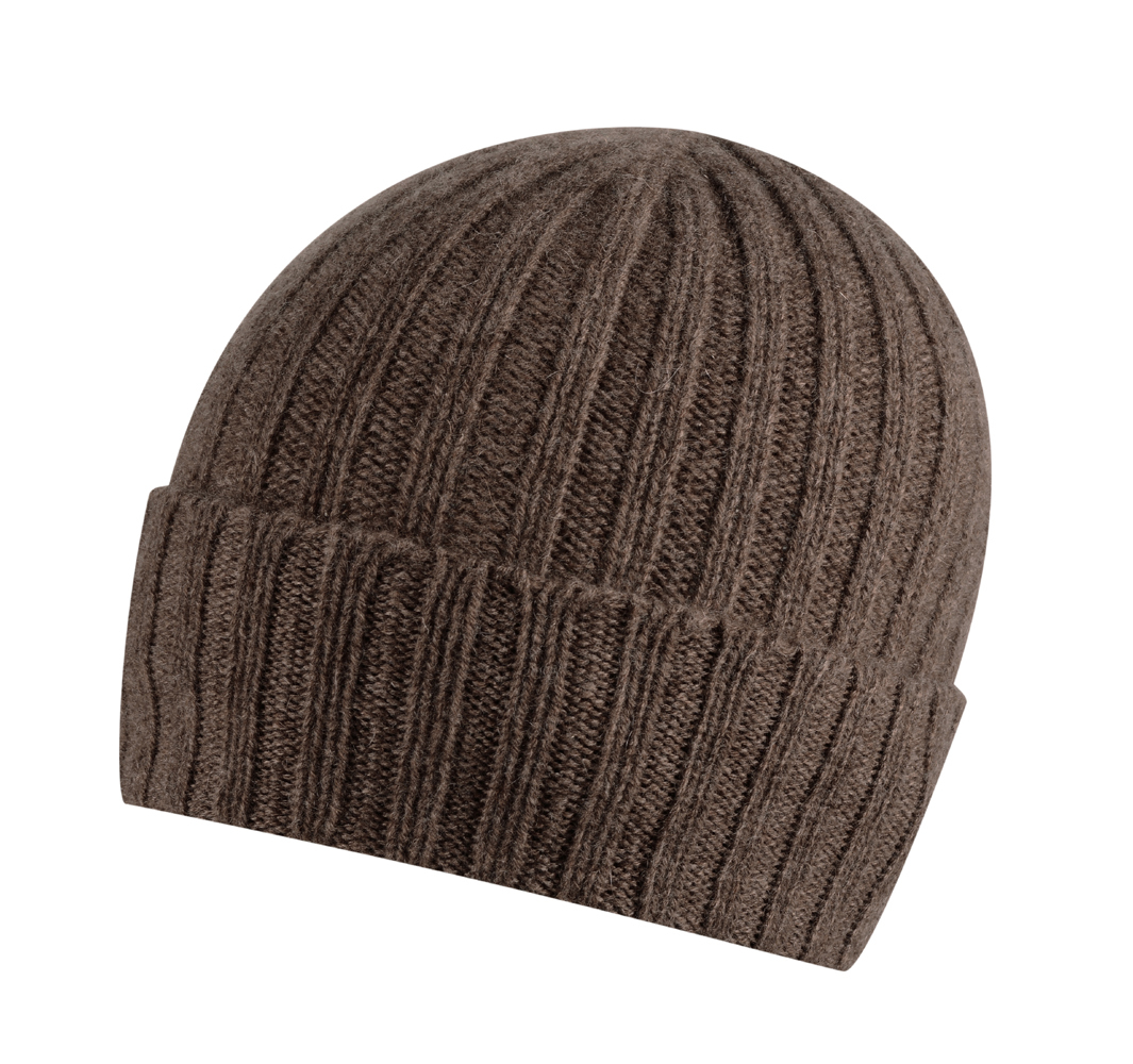 Broad Ribbed Cashmere Hat in Otter