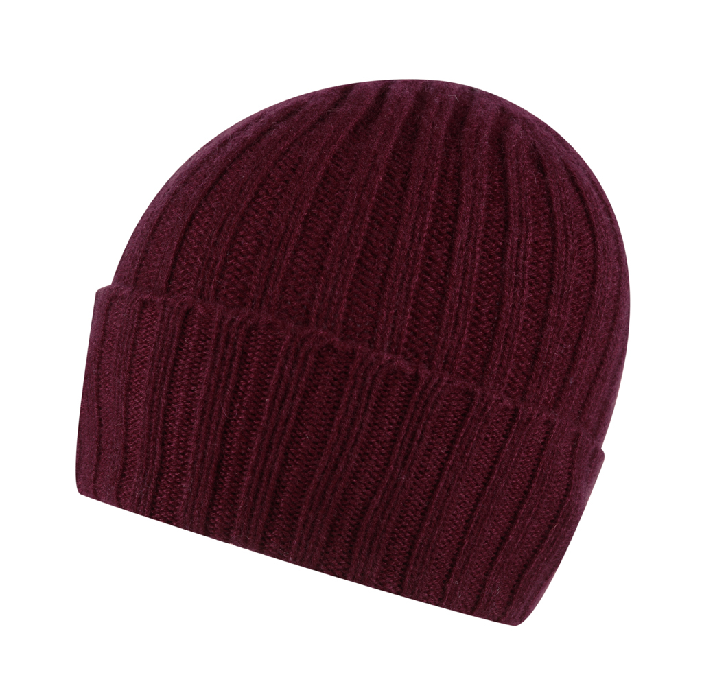 Broad Ribbed Cashmere Hat in Claret Red