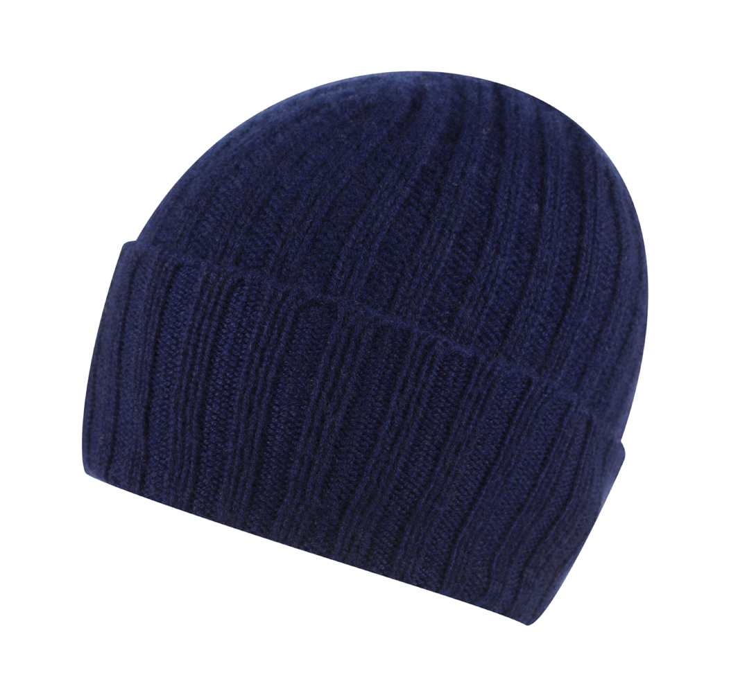 Broad Ribbed Cashmere Hat in Navy Blue